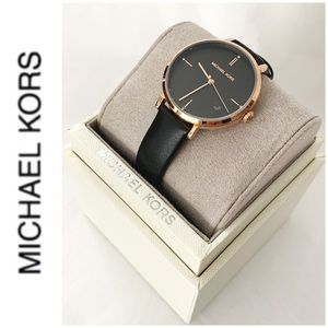 NWT authentic MK rosegold leather strap watch